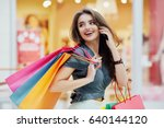 stunning happy girl with long... | Shutterstock . vector #640144120