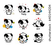 cute puppy vector logo set.... | Shutterstock .eps vector #640144204