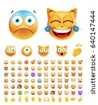 set of cute emoticons on... | Shutterstock .eps vector #640147444