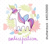 magic cute unicorn with flowers.... | Shutterstock .eps vector #640150000
