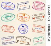 visa stamp set. arrival and... | Shutterstock . vector #640154464