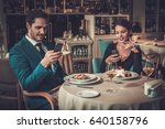 stylish couple with mobile... | Shutterstock . vector #640158796