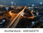 mobile signal in city concept.... | Shutterstock . vector #640160374