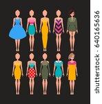 different dresses set.vector... | Shutterstock .eps vector #640165636