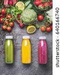 variety of colorful smoothies... | Shutterstock . vector #640166740