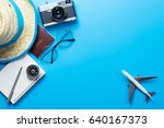 travel accessories on blue... | Shutterstock . vector #640167373