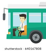 asian bus driver sitting at... | Shutterstock .eps vector #640167808