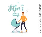 happy fathers day inscription.... | Shutterstock .eps vector #640168600