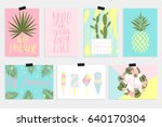 summer greeting cards and... | Shutterstock .eps vector #640170304