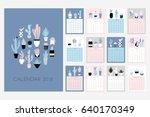 calendar 2018. stock vector.... | Shutterstock .eps vector #640170349