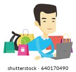 asian man using laptop for... | Shutterstock .eps vector #640170490