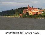Grudziadz city at Wisla river - Poland - stock photo