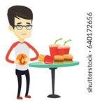 asian sad man having stomach... | Shutterstock .eps vector #640172656