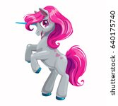 cute cartoon unicorn with pink... | Shutterstock .eps vector #640175740