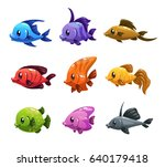 cute cartoon colorful fishes... | Shutterstock .eps vector #640179418