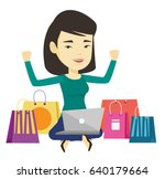 asian woman with hands up using ... | Shutterstock .eps vector #640179664