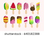 vector flat ice cream eskimo... | Shutterstock .eps vector #640182388