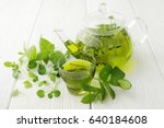 healthy green tea cup with tea... | Shutterstock . vector #640184608