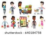 caucasian customer shopping at... | Shutterstock .eps vector #640184758