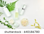 cosmetic bottle containers with ... | Shutterstock . vector #640186780