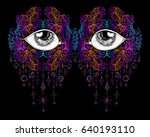 vector fashion illustration.... | Shutterstock .eps vector #640193110
