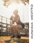 woman exercising with... | Shutterstock . vector #640197910