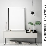 mock up poster frame in hipster ... | Shutterstock . vector #640198438