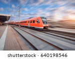 red modern high speed train in... | Shutterstock . vector #640198546