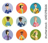 young policewoman talking on a... | Shutterstock .eps vector #640198666