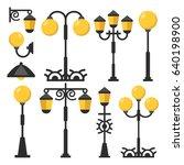 vintage streetlights set. black ... | Shutterstock .eps vector #640198900