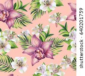 seamless pattern with tropical...   Shutterstock . vector #640201759