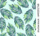 seamless pattern with tropical... | Shutterstock . vector #640201768