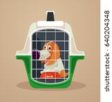 dog transport box. carrying... | Shutterstock .eps vector #640204348