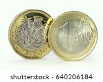euro coin and new pound coin... | Shutterstock . vector #640206184