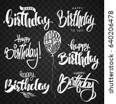 happy birthday calligraphy hand ... | Shutterstock .eps vector #640206478