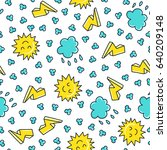 doodles cute seamless pattern.... | Shutterstock .eps vector #640209148