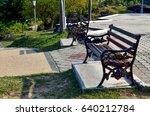 recreational park bench in a... | Shutterstock . vector #640212784