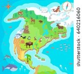 north america isometric map... | Shutterstock . vector #640216060