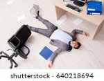 businessman dead on the office... | Shutterstock . vector #640218694