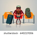 happy smiling man tourist... | Shutterstock .eps vector #640219306
