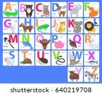children alphabet with animals. ... | Shutterstock . vector #640219708