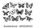 Set Silhouettes Of Butterflies...