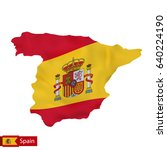 spain map with waving flag of... | Shutterstock .eps vector #640224190