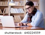 young writer working in the... | Shutterstock . vector #640224559