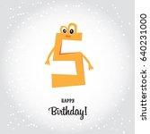 happy fifth birthday postcard.... | Shutterstock .eps vector #640231000