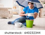 man at home dealing with... | Shutterstock . vector #640232344