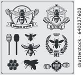 set of honey labels  badges and ... | Shutterstock .eps vector #640237603