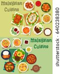 malaysian cuisine healthy food... | Shutterstock .eps vector #640238380
