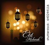 golden eid mubarak vector... | Shutterstock .eps vector #640244116