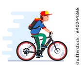 teenager boy riding fast modern ... | Shutterstock .eps vector #640244368